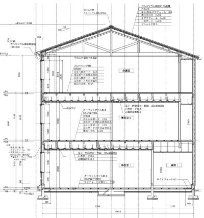 マルオカ埼玉営業所の矩計図。軒高は8.98m、最高高さは11.055m。構造計算が「ルート1」で可能な断面構成とした(資料:藤田木造構法計画)