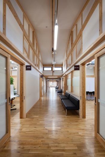 廊下まわり。柱や梁、床材や引き戸の建具に用いた木が室内空間に温かさをもたらす(写真:吉田 誠)