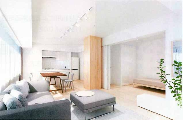 住戸内の完成イメージ。住戸内に燃エンウッドの柱が見えるのは、2〜10階のフロア当たり4住戸のうち2住戸に限られる(資料:竹中工務店)