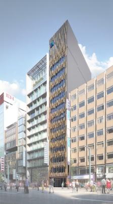 東京・銀座通りに建設中の「銀座8丁目開発計画(仮称)」の完成予想パース。地上12階建て、高さ約56m、延べ面積2451m<sup>2</sup>の商業テナントビル。発注者はヒューリック、設計・施工者は竹中工務店、デザイン監修者は隈研吾建築都市設計事務所(資料:ヒューリック)