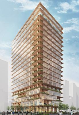 東京・日本橋本町1丁目に計画している地上17階建て、高さ70m、延べ面積約2万6000m<sup>2</sup>の賃貸オフィスビルの完成予想パース。2023年に着工し、25年に完成する予定。発注者は三井不動産、設計予定者は竹中工務店(資料:三井不動産)
