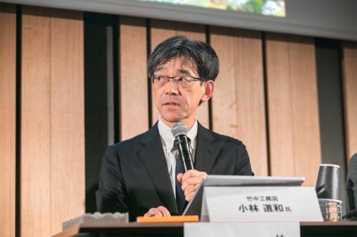竹中工務店木造・木質建築推進本部副部長の小林道和氏(写真:渡辺 慎一郎)