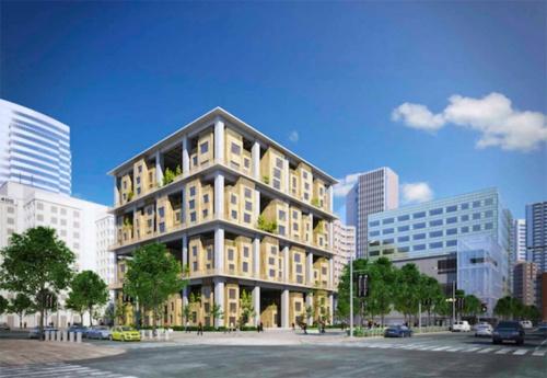 12階建ての中層ビルのイメージスケッチ。3層おきに鉄筋コンクリート造または鉄骨造による強度の高い躯体でメガストラクチャーを構成し、その中に木造で3層分をはめ込む形式(資料:NPO法人team Timberize)
