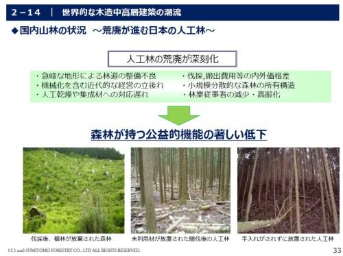 国内山林の状況(資料:住友林業)