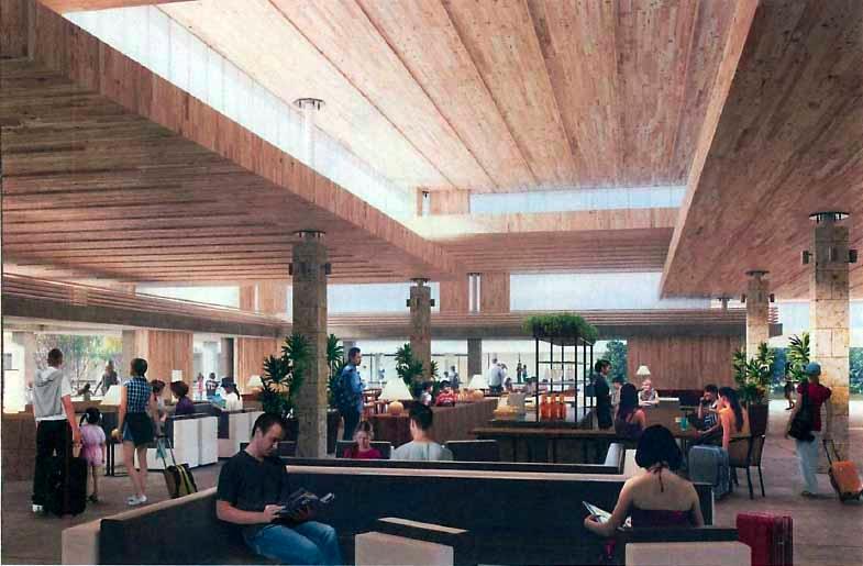 下地島空港ターミナル施設プロジェクトの内観イメージ(資料:三菱地所)