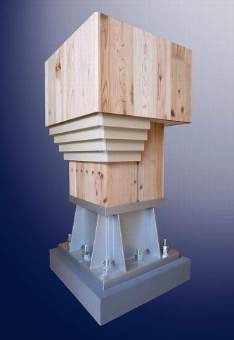 4枚の石こうボードと表面材で覆う柱脚部分のイメージ。柱脚金物に固定した柱(荷重支持部材)に4枚の強化石こうボードと表面材を張る(資料:シェルター)