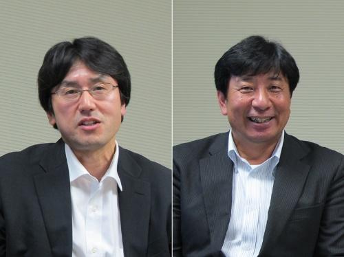 図2 NEC  宇宙システム事業部 事業部長代理の伊藤武彦氏(左)と同社のナショナルセキュリティ・ソリューション事業部 事業戦略企画グループ マネージャーの松尾隆氏(右)