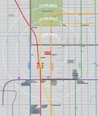 1271アベニュー・オブ・ザ・アメリカスの立地図。6番街を挟んだ東側にはロックフェラーセンターが立っている(資料:ロックフェラーグループ・インターナショナル社)