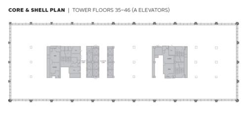 1271アベニュー・オブ・ザ・アメリカス38階の平面図。図の右手が6番街となる。長手方向(東西)は約90m。テナントが自由にオフィス空間を設計できるように、無柱空間が続いている(資料:ロックフェラーグループ・インターナショナル社)