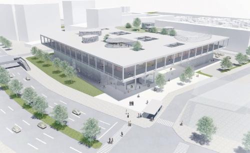 名古屋市内に移転を予定している「名古屋造形大学」の新キャンパスの完成イメージ。地下1階、地上5階建て。大きな屋根が浮いているような外観で、上層階は周囲に広いテラスが巡り、学生たちの活動が外から見えるようにする。2022年の開学を目指す(資料:山本理顕設計工場)