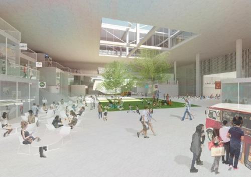 キャンパスの中央に「アートストリート」を設け、店舗やギャラリーを置く。イベントなども開催できるようにして、学生以外にも多くの人が行き交う場所にする。敷地の地下には、市営地下鉄・名城公園駅がある(資料:山本理顕設計工場)