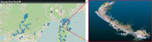 静岡県の3次元点群データベース「Shizuoka Point Cloud DB」。道路や地形の3次元点群データが登録されている地点を地図上で示し、選択してダウンロードできる。データのプレビュー機能などは今後、実装していく予定(資料:静岡県)