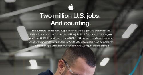 米アップルが公表している雇用創出リポート