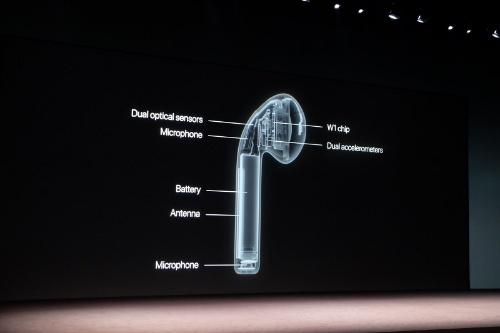 米アップルが2016年9月のイベントで紹介したAirPods(初代)の内部構造