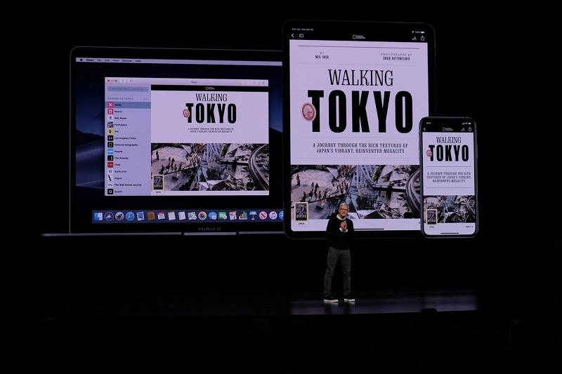 300を超える雑誌や新聞が読み放題となる「Apple News+」。iPhoneやiPad、Macなどのデバイスに合わせて最適なレイアウトでコンテンツを閲覧できる (撮影:松村太郎)