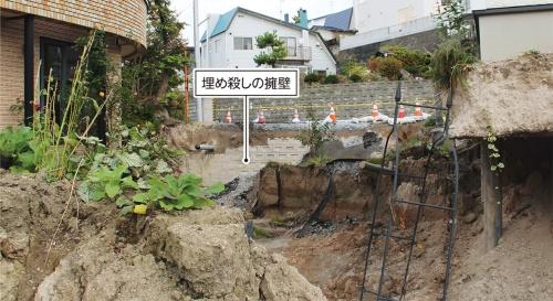 〔写真2〕元の地盤から約1.5m沈下