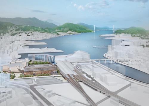 JR長崎駅の北側から見た、駅周辺の将来イメージ。新たに高架の駅や線路、駅ビルを整備する(資料:JR九州)