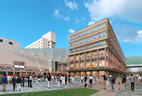 JR長崎駅の東側から見た駅ビルの完成イメージ。写真右奥にJR長崎駅(資料:JR九州)
