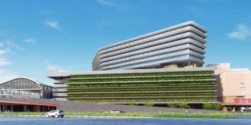 駅の南側から見た新しい駅ビルの完成イメージ。高層階に外資系ホテルが入る予定(写真:JR九州)