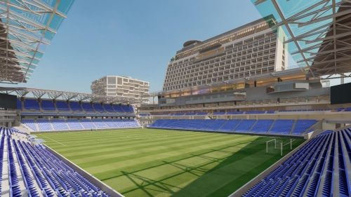 長崎スタジアムシティ、サッカースタジアムのイメージ。客席スタンドと一体的につくるホテルは、長崎湾まで見渡せる眺望と、眼下のスタジアムビューの両方を楽しめるようにする。これまでホテル客室数は300室とされていたが、改めて270室と発表した(資料:ジャパネットホールディングス)