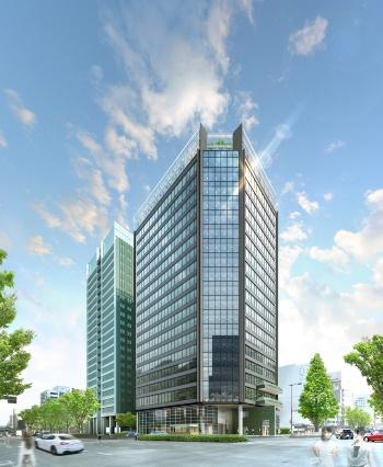 22年1月に竣工予定の建物「アーバンネット名古屋ネクスタビル」の完成イメージ。地下1階・地上20階建てで、延べ面積は約3万m<sup>2</sup>。基本設計と実施設計監修は日建設計、実施設計と施工は清水建設が手掛ける(資料:NTT都市開発)