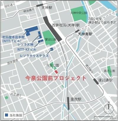敷地は、福岡の繁華街である天神地区に隣接する。施設の目の前は、通称「三角公園」と呼ばれる今泉公園(資料:NTT都市開発)