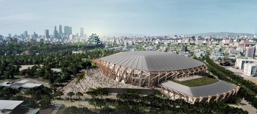 愛知県新体育館の東側からの鳥瞰(ちょうかん)イメージ。以下、提案段階のため、今後変更となる場合がある(資料:愛知県)