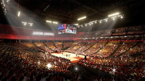 愛知県新体育館のバスケットボール試合時の観客席イメージ(資料:愛知県)