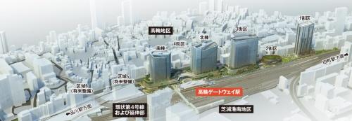 品川開発プロジェクトの全体パース。新駅で約192億円、駅前再開発(第1・2期)で約5000億円の総事業費を見込む(資料:JR東日本)