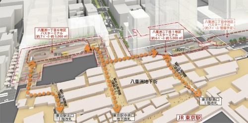都市再生特別地区「八重洲一丁目6地区」(東京駅前八重洲1丁目東地区)・「八重洲二丁目1地区」(八重洲2丁目北地区)都市計画(素案)の概要より、「東京駅前の交通結節機能の強化」として街区間で連携する大規模バスターミナルの整備を記した部分。南側にもう一地区、超高層の計画がある。地下1階でJR東京駅と接続し、隣接する八重洲2丁目中地区竣工後には、東京メトロ銀座線京橋駅まで地下1階でアクセスが可能になる(資料:首相官邸ホームページ「国家戦略特別区域会議東京都都市再生分科会」第5回、2015年4月10日)