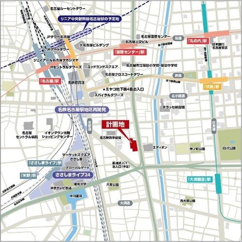 NAGOYA the TOWERの計画地は、JR名古屋駅から徒歩13分の距離に位置する(資料:総合地所、名鉄不動産、京阪電鉄不動産、大和ハウス工業、三交不動産、住友商事)