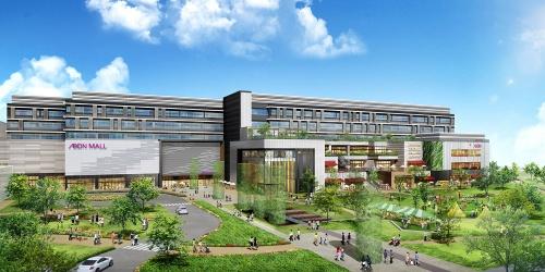 外観イメージ。名古屋駅から徒歩12分の場所に立地する。建築の設計・施工は大成建設が担当。ショッピング以外へと機能拡張を続けてきた中で、イオンモールは近年、生活者の幸福度向上をサービスの目的とする考え方からショッピングモールを「ハピネスモール」と表現している(資料:イオンモール)