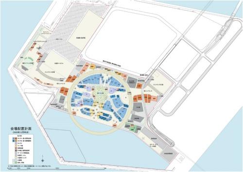 大阪・関西万博の会場配置計画。中央の円環は屋根が架かった主動線で、主なパビリオンや施設をこの主動線に面して建てる計画だ(資料:2025年日本国際博覧会協会)