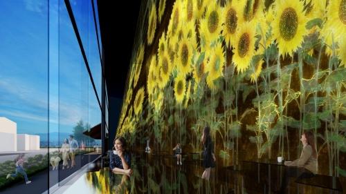 巨大なアート作品の展示空間にカフェを併設する(資料:チームラボ)