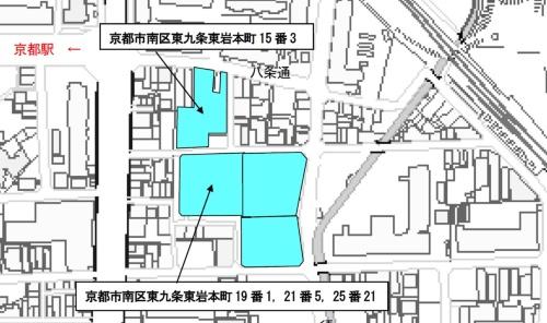 対象となる市有地は青色の2カ所。北側が市有地A、南側が市有地B(資料:京都市都市計画局)