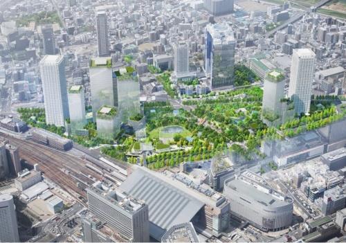 「うめきた2期地区」の完成イメージ。2018年5月の提案時のもの(資料:うめきた2期開発事業者JV)
