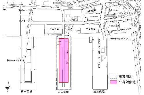 計画地の新港突堤西地区。3つ並ぶうちの中央が第2突堤(東側に、さらに第4突堤がある)。櫛(くし)形の突堤の特性を生かした、眺望に優れた立地環境ならではのシンボル性のある施設が求められた(資料:神戸市)
