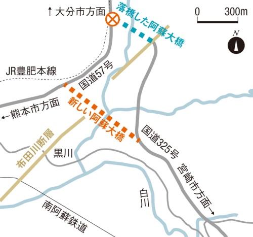 阿蘇大橋と新阿蘇大橋の位置。布田川断層の位置は国土地理院の活断層図を基にした。日経コンストラクションが作成