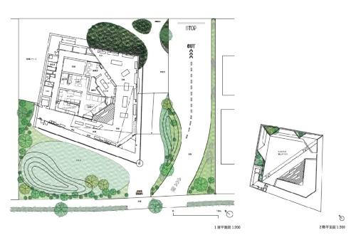 1階(左)と2階の平面図。建物はひし形の平面を対角線で分割し、大小2つの三角形をつなげたような計画としている(資料:永山祐子建築設計)