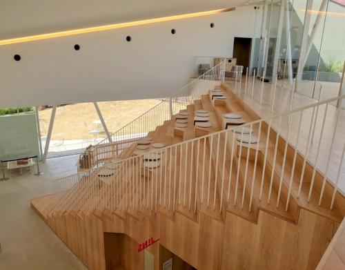 2階ホール(吹き抜けスペース)から見た大階段(写真:日経クロステック)