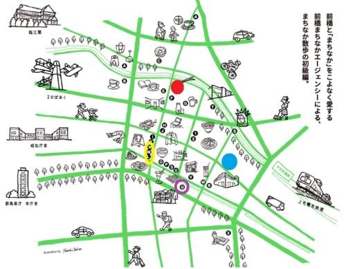 前橋の中心街「まちなか」の地図。青丸が「Qのひろば再開発プロジェクト」、赤丸が「弁天アパートメンツ」の計画地。紫丸は藤本壮介氏が設計した「白井屋ホテル」。白井屋ホテルとQのひろば再開発プロジェクトの間には、飲食店が立ち並ぶ歓楽街が広がる。黄丸はアーケードがある「中央通り商店街」に3軒並んで立つ、建築家が設計した店舗群。図手前から中村竜治氏、長坂常氏、高濱史子氏が手掛けた。方角は図の上が北で、「弁天通り商店街」は中央通り商店街のすぐ北側に連続するように位置する(資料:前橋まちなかエージェンシー、イラスト:Shoichi Sekine)