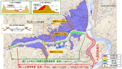 真備緊急治水対策プロジェクトの概要(資料:国土交通省中国地方整備局)