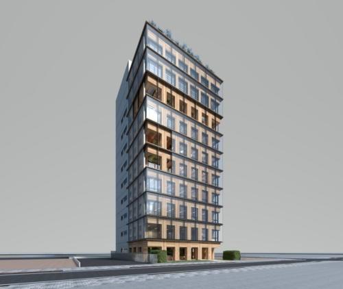 大林組が建設している木造高層ビルの完成イメージ(資料:大林組)