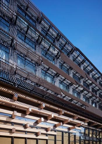 中庭から見た新築棟。開口部にはランダムな角度の銅色ルーバーを設けた。250×500㎜の木組み架構が建物の内外を貫く(写真:Forward Stroke)