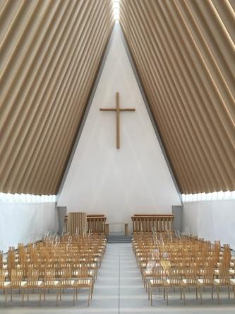 「紙の大聖堂」の模型内部(写真:西岡 梨夏)