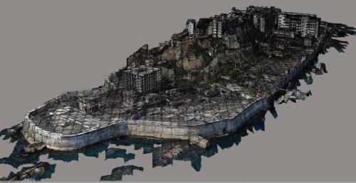 軍艦島の3次元モデル(資料:出水 享)