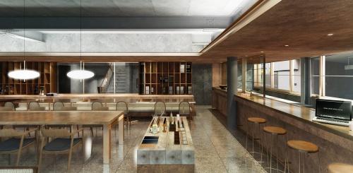 """1階飲食店の完成イメージ。サポーズデザインオフィスの東京オフィスに併設する自営の飲食店「社食堂」を広島にも開く。近接地では、もう1軒の""""自作自営""""の新築ホテル計画も進む。7室を設け、20年以降の開業を目指す(資料:サポーズデザインオフィス)"""