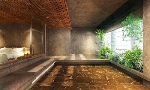 サポーズデザインオフィスが手掛ける「tomalt(とまると)」(「猫屋町ビル」改修工事、注:19年7月時点の仮称は「UreHotel(ユアホテル)」)の5階客室の完成イメージ(資料:サポーズデザインオフィス)