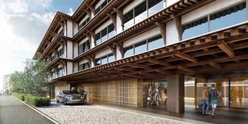 ホテルのイメージ。木組みの大庇や竹スクリーンをエントランス回りに採用する計画(資料:NTT都市開発)