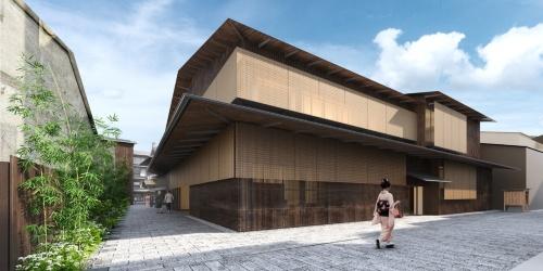 建て替え後の歌舞練場のイメージ。すだれと木格子をモチーフにしたファサードデザインを取り入れる(資料:NTT都市開発)